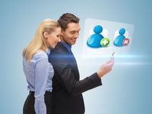 Man and woman reading sms Stock Photos