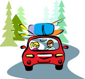 A man and a woman in red car driving on a forest road to rest. Taking your backpacks, boat, oars, fishing rod. Travel on vacation in the vector Stock Photos