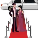 Man and woman on a red carpet. Vector illustration Royalty Free Stock Photography