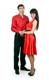 Man and woman in a red dress Royalty Free Stock Photos
