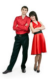 Man and woman in a red dress Stock Photography