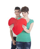 Man and woman with red heart Royalty Free Stock Images