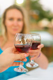 Man and woman with red wine. Royalty Free Stock Photos