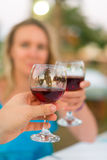 Man and woman with red wine. Royalty Free Stock Images