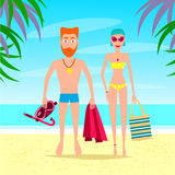 Man and Woman Relaxing On The Beach. Vector Couple Characters. Royalty Free Stock Images