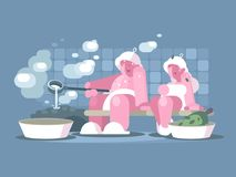 Man and woman relaxing in sauna. Healthy lifestyle vector illustration Stock Images