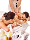 Man and woman relaxing in spa. Isolated Stock Image