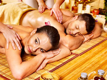 Man and woman relaxing in spa. Royalty Free Stock Images
