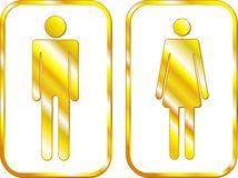 Man and Woman restroom golden signs. Vector Royalty Free Stock Photography
