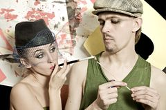 Man and woman in retro style Royalty Free Stock Photos