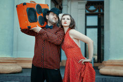 Man and woman in retro style. royalty free stock photography