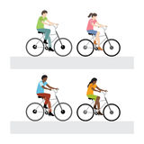 Man and woman riding bicycle. Vector illustration of man and woman riding bicycle Royalty Free Illustration