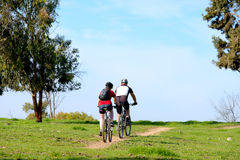 Man and woman riding  bicycles Stock Image