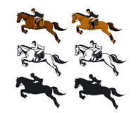 Man and Woman Riding Jumping Horse Set. In Color, SIlhouette and Contour. Isolated Vector Illustration Royalty Free Stock Images