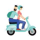 A man and a woman riding a scooter Royalty Free Stock Images