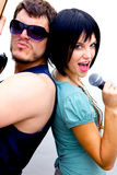 Man and Woman Rock Stars Royalty Free Stock Image
