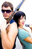Man and Woman Rock Stars Royalty Free Stock Photo