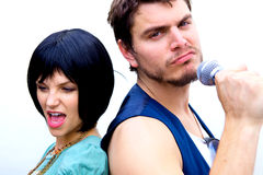 Man and Woman Rock Stars Stock Photography