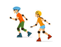 Man and woman roller skating Royalty Free Stock Photography
