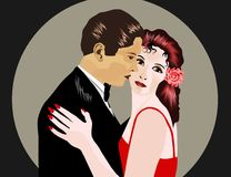 Man and woman. At romantic dance royalty free illustration