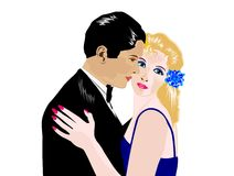 Man and woman. At romantic dance stock illustration