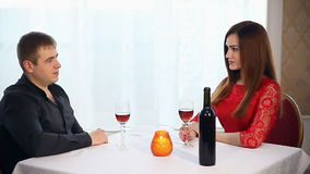 Man and woman romantic evening in love restaurant drinking wine , Valentine's Day. Man and  woman romantic evening in love restaurant drinking wine , Valentine's stock footage