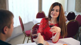 Man and woman romantic evening love in restaurant Valentine's Day drinking wine. Man and  woman romantic evening love in restaurant Valentine's Day drinking wine stock footage