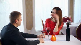 Man and woman romantic evening in restaurant love drinking wine , Valentine's Day stock video