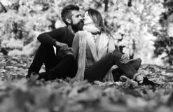 Man and woman with romantic faces on autumn trees background royalty free stock photography