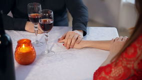 Man and woman romantic love evening in restaurant drinking wine , Valentine's Day. Man and  woman romantic love evening in restaurant drinking wine , Valentine's stock footage