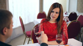 Man and woman romantic love evening in restaurant Valentine's Day drinking wine. Man and  woman romantic love evening in restaurant Valentine's Day drinking wine stock video