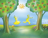 Man and woman running (Gingerbread boy fairy tale). A man and a woman are running in the country, following the Gingerbread Boy (that is not in this illustration Stock Images