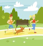 Man and woman running with dog in the park, summer landscape vector Illustration. Cartoon style Stock Image