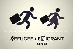 Man and woman running with suitcases. Emigrant / refugee series. Royalty Free Stock Photo