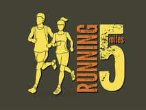 Man and woman running together, marathon runner. Graphic vector Stock Photography