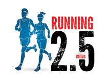 Man and woman running together, marathon runner. Graphic vector Royalty Free Stock Image
