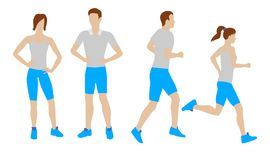 Man and woman running on a white background. Vector flat icons. Man and woman in sportswear running on a white background. Vector illustration in a flat style Stock Images