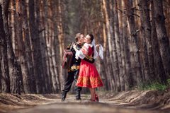 Man and woman in Russian national clothes Royalty Free Stock Photos