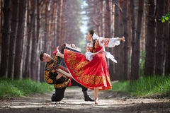 Man and woman in Russian national dress royalty free stock photography