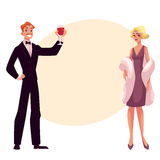 Man and woman in 1920s style clothes at vintage party. Man and woman in 1920s style clothes at a vintage party, cartoon style vector illustration on background Stock Image
