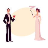 Man and woman in 1920s style clothes at vintage party. Man and woman in 1920s style clothes at a vintage party, cartoon style vector illustration on background Royalty Free Stock Photo