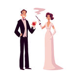 Man and woman in 1920s style clothes at vintage party. Man and woman in 1920s style clothes at a vintage party, cartoon style vector illustration isolated on Stock Photography