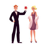 Man and woman in 1920s style clothes at vintage party. Man and woman in 1920s style clothes at a vintage party, cartoon style vector illustration isolated on Royalty Free Stock Photos