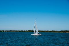 Trimaran Sailing on the ICW Royalty Free Stock Images