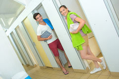 Man and woman in sanitation block campsite Stock Images