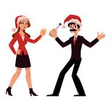 Man, woman in Santa hats having fun at Christmas party Royalty Free Stock Photo