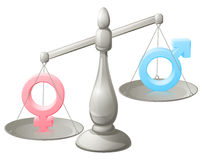 Man woman scales concept. With male and female symbols, the female weighing more Royalty Free Stock Image
