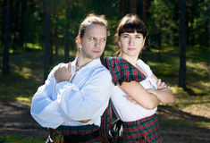Man and woman in scottish costume Stock Images