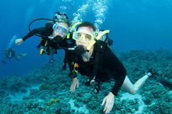 Man and woman scuba dive togeather. Romantic couple scuba dive together in the ocean on a coral reef royalty free stock photography