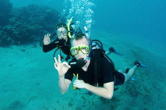 Man and woman scuba diver Stock Photos